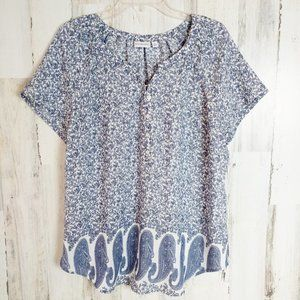 Boho Paisley Floral Short Sleeve Top Size Large
